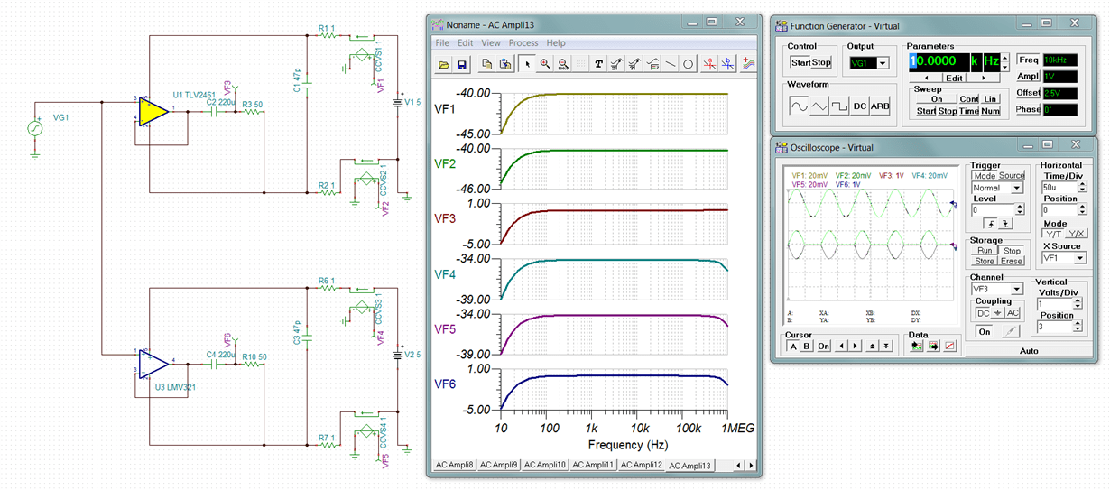 TINA/Spice/TINA-TI: Discrepancy between Oscilloscope and AC Transfer Characteristic for some op-amps - Simulation. hardware & system design tools ...