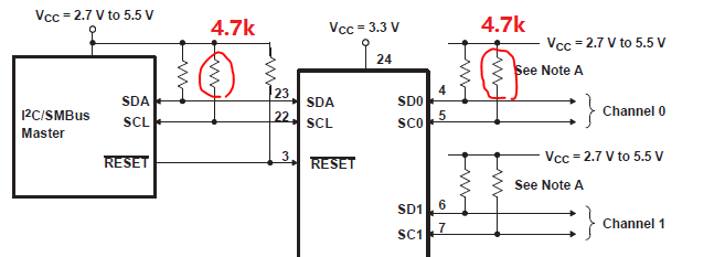 [Resolved] PCA9548A: Master and Slave side I2C line total