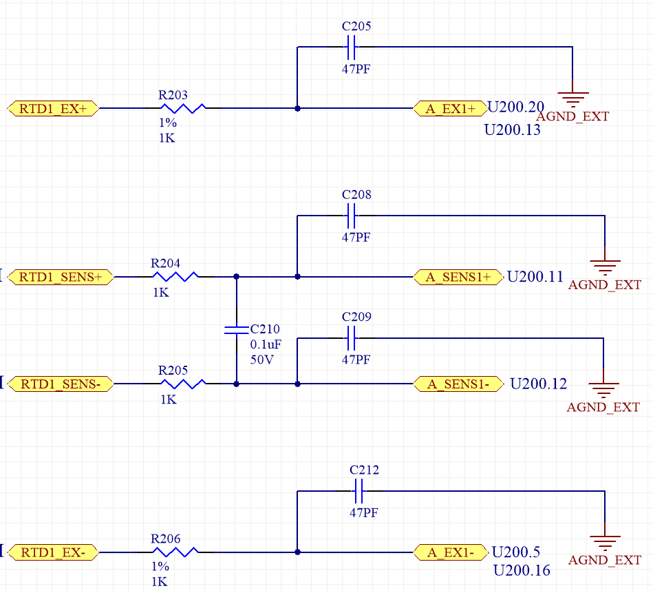 hight resolution of so with this design there is no connection from iexc1 to the input measurement or the reference input so for a 2 wire rtd we must use external jumpers from