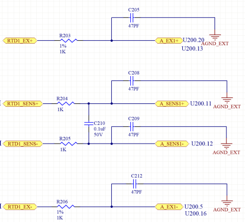 small resolution of so with this design there is no connection from iexc1 to the input measurement or the reference input so for a 2 wire rtd we must use external jumpers from