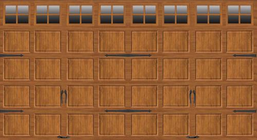 Ideal Door 16 ft x 8 ft Medium Oak Steel Carriage House