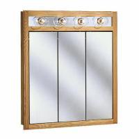"Pace 30"" Oak Lighted Tri-View Medicine Cabinet at Menards"