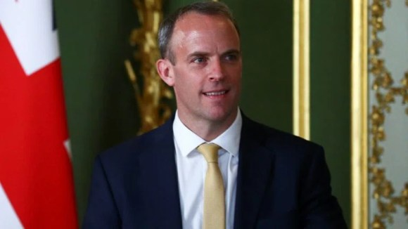 LONDON, ENGLAND - JULY 21: Britain's Foreign Secretary Dominic Raab speaks during a joint press conference with U.S. Secretary of State Mike Pompeo at Lancaster House on July 21, 2020 in London, England. (Photo by Hannah McKay - WPA Pool/Getty Images)