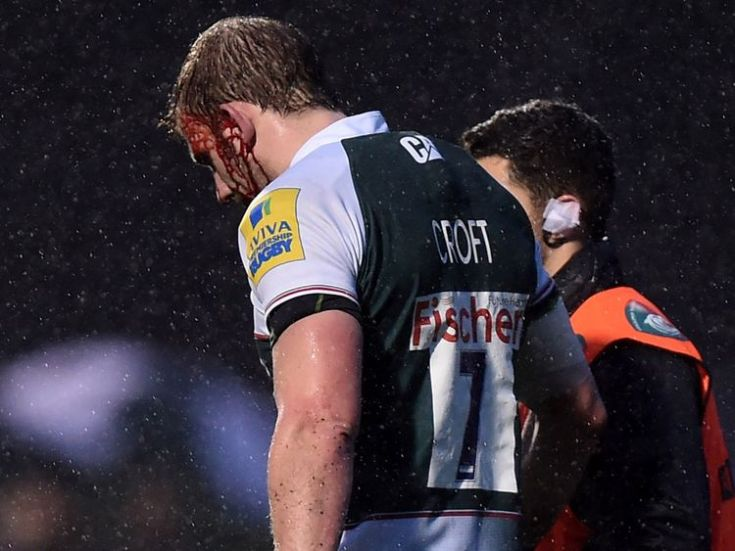 Leicester Tigers' Tom Croft leaves the field of play with an injury during the Aviva Premiership match at Allianz Park, London.
