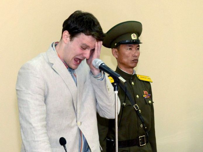 KCNA picture shows U.S. student Otto Warmbier crying at court in an undisclosed location in North Korea North Korea 'moves US prisoners to hotel' ahead of imminent release North Korea 'moves US prisoners to hotel' ahead of imminent release rtsaogi 1 2048x1536 3432425