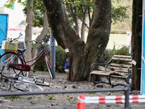 The site where an explosion happened is seen in Utsunomiya, Japan. Pic: Kyodo/via Reuters