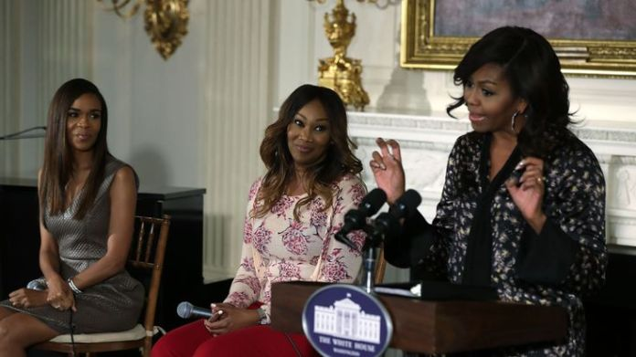 First lady Michelle Obama speaks to school and college students as singers Yolanda Adams and Michelle Williams listen in the State Dining Room of the White House  Aretha Franklin's funeral: Stars who'll be there d8cb563d9ef99870771c3adcf8e313db23e30ddf80e2256236b807d1b20adedf 3814062