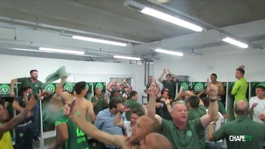 Chapecoense celebrate winning their Copa Sudamericana semi-final