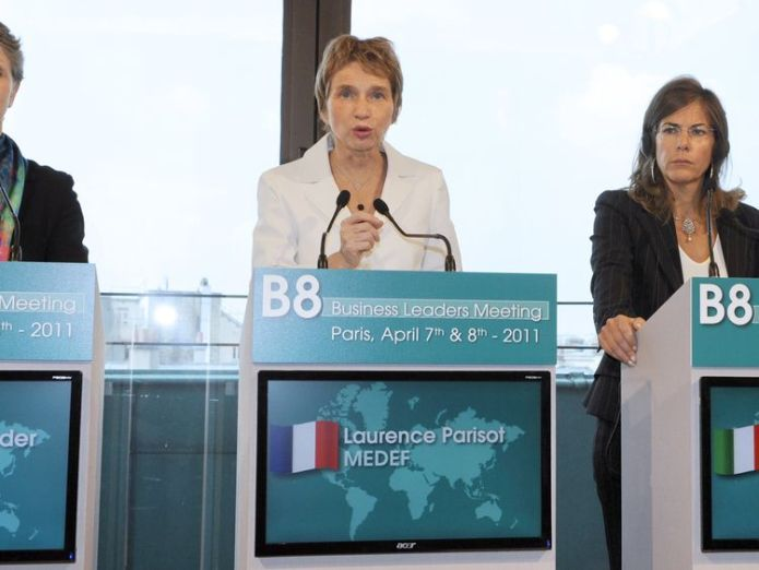 (From LtoR) British president of the CBI (confederation of British Industry) Helen Alexander, French Business confederation Medef head Laurence Parisot and Italian president of Confindustria, Emma Marcegaglia, take part in a press conference during the B8 Business Leaders Meeting on April 8, 2011 in Paris. AFP PHOTO BERTRAND GUAY (Photo credit should read BERTRAND GUAY/AFP/Getty Images)   FTSE bosses face new test in 'one and done' diversity drive 13c8f61f725b072b5f0d31e9ca2a53b7e111447f72c37220eed3013e4bc88fa3 3824719