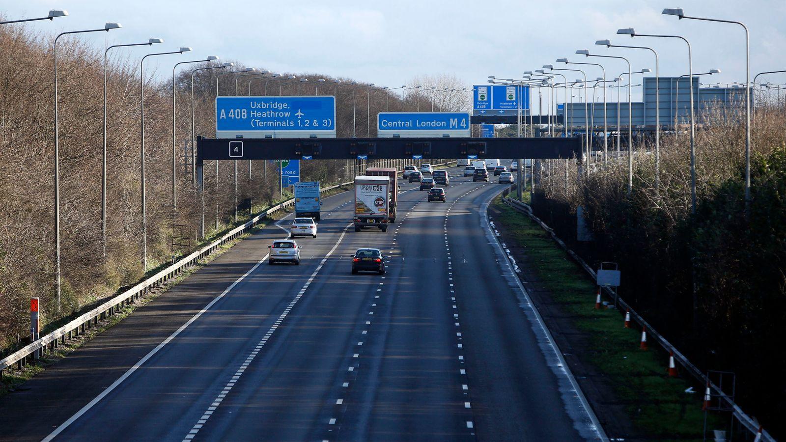 The M4 motorway, eastbound, near Heathrow Airport