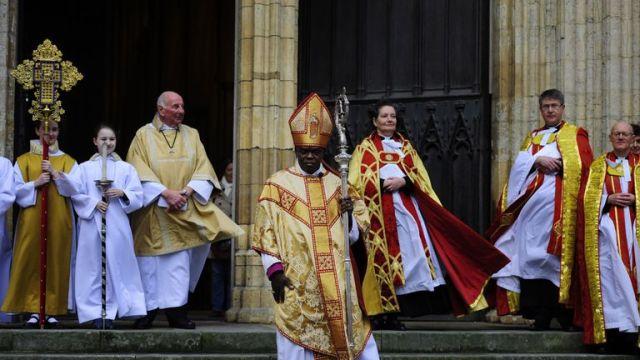 Dean of York Minster Vivienne Faull (centre) and Archbishop of York Dr John Sentamu following the Christmas Day service
