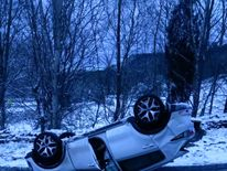 An upturned car on the A170 in Yorkshire. Pic: @NYorksRPG