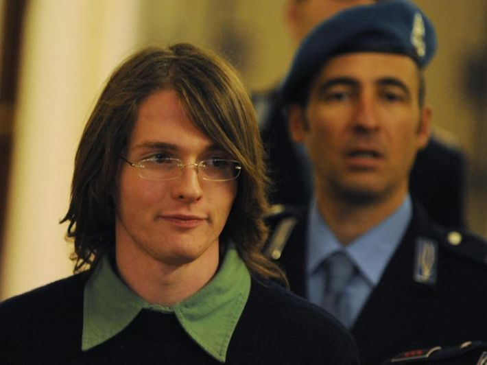 Raffaele Sollecito (R)  was originally convicted and later acquitted for Ms Kercher's murder