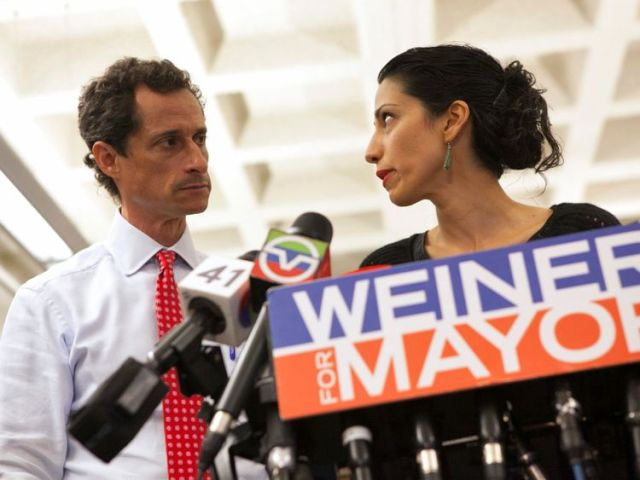 Weiner and wife Huma Abedin at a news conference in 2013
