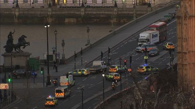 Emergency services at Westminster following terror attack in which several people have been killed and more injured.