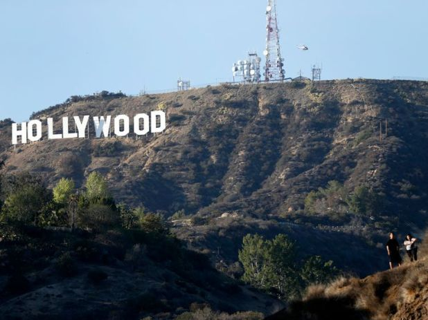 The Hollywood sign above northern Los Angeles