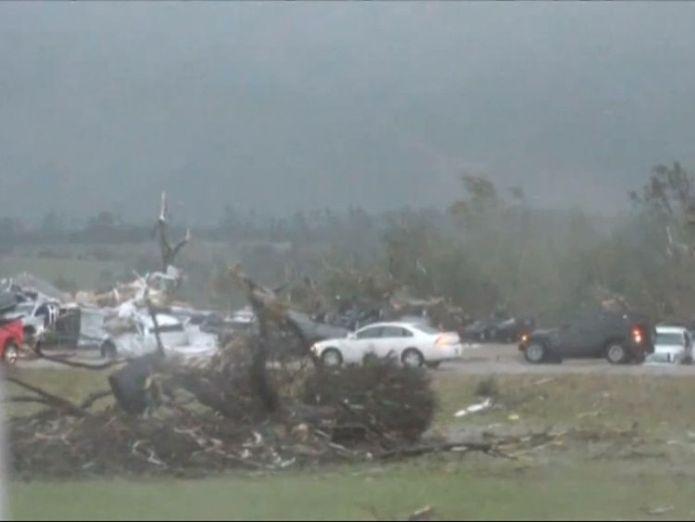 Debris following the tornado's touchdown
