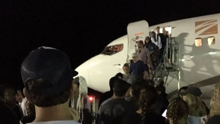 People left stranded on the island, waiting for an overnight flight