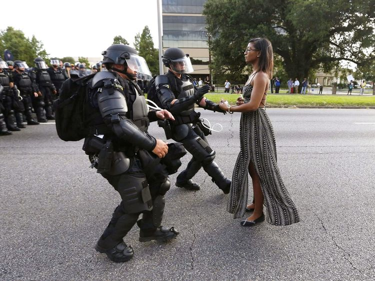 Lone activist and mother Leshia Evans travelled to Baton Rouge to protest against the shooting of Alton Sterling in July 2016