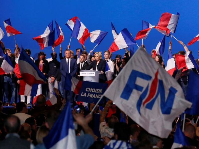 Ms Le Pen addresses a rally in the French capital