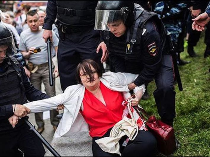 Yulia Galiamina was at the Moscow protest and said police beat her
