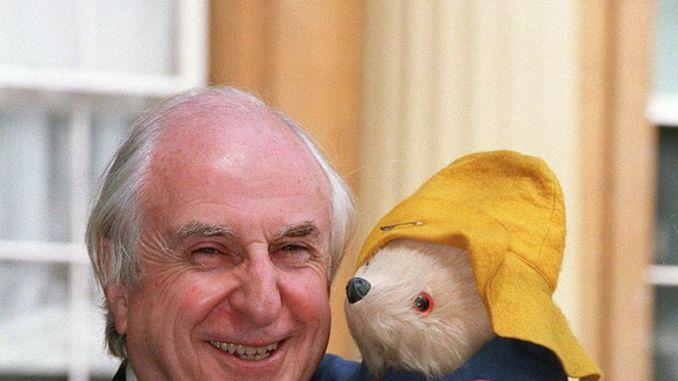 Author Michael Bond and his creation, Paddington Bear