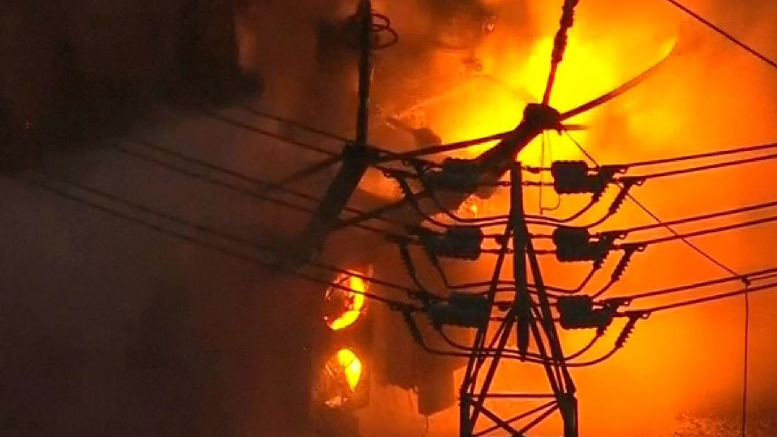 The fire and explosion left thousands of people without power