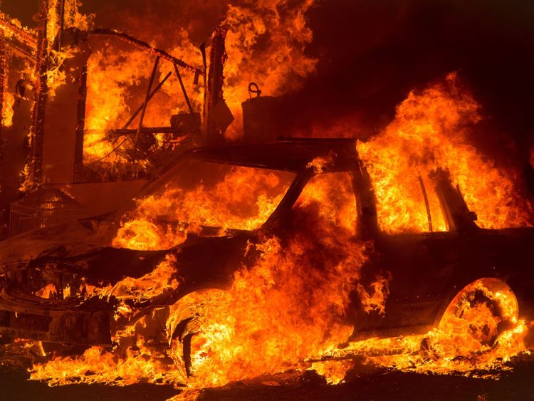 A car is engulfed in flames in Oroville
