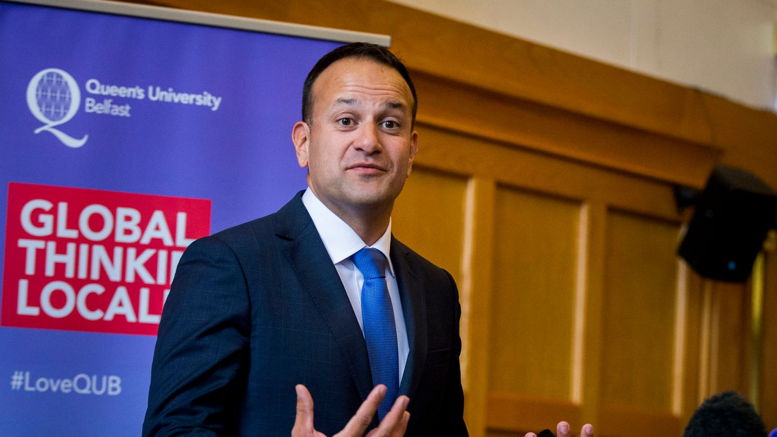 Leo Varadkar speaks during a press conference at Queen's University in Belfast