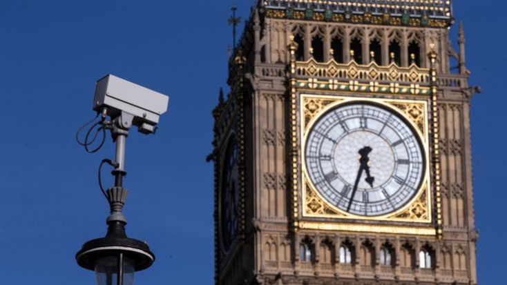 A general view of a CCTV camera in Westminster