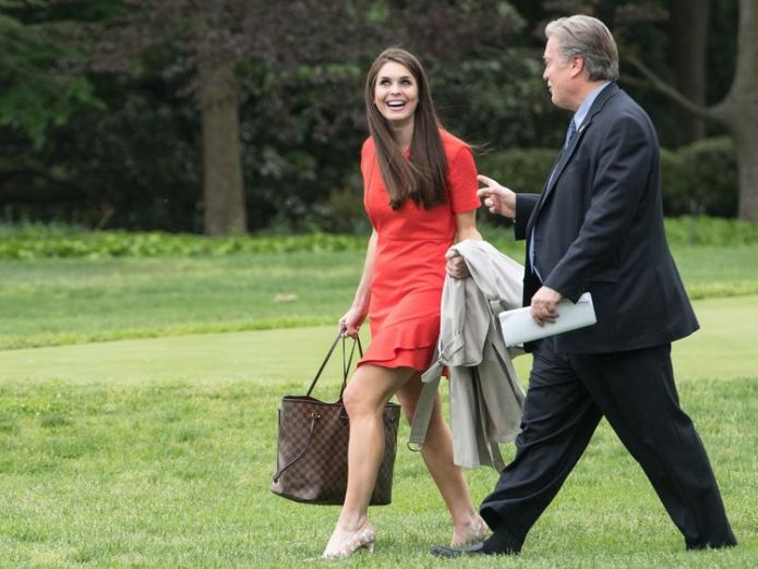 Hope Hicks and Steve Bannon walk across the White House lawn to Marine One Who is new White House communications director Hope Hicks? Who is new White House communications director Hope Hicks? 29a758cfb3ae77853807fe33f102296ba6fe0ee3fcd86cb81cdbb77240e40bc4 4077567