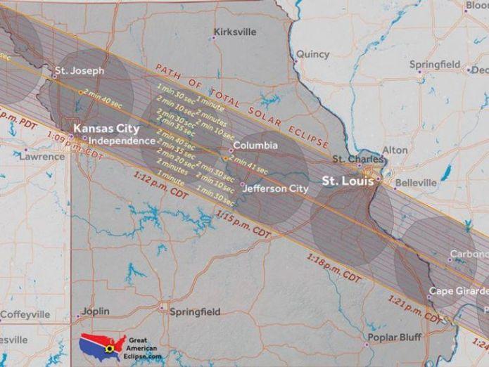 Missouri. Pic: Great American Eclipse  Where natural phenonemon will blot out the Sun Where natural phenonemon will blot out the Sun 5db323fba4adfb614853f2b0eedddb5eaa25e72818a6cdf457c96779ceca0d31 4074382