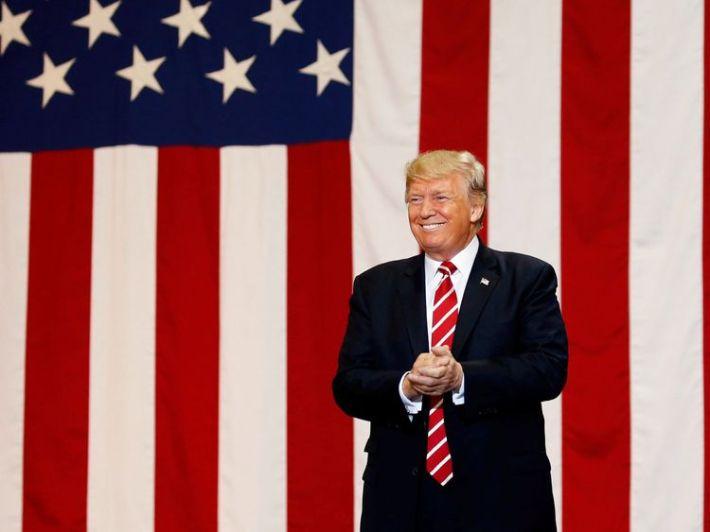 U.S. President Donald Trump arrives at a campaign rally in Phoenix, Arizona