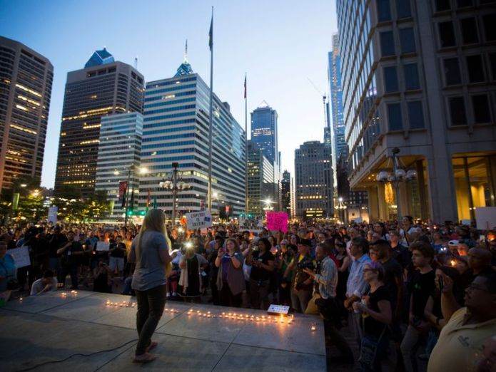 A vigil is held in downtown Philadelphia on August 13, 2017 in support of the victims of violence at the 'Unite the Right' rally In Charlottesville, Virginia this weekend. Vigils are being held across the country following clashes between white supremacists and counter-protestors in Charlottesville, Virginia on Saturday, August 12th. Heather Heyer, 32, was killed in Charlottesville US emerges from violent weekend in Charlottesville US emerges from violent weekend in Charlottesville aa212c0ffce5143fca5759cc3a94cc1951fbf8b3da3a929924d9195fb59981f1 4073319
