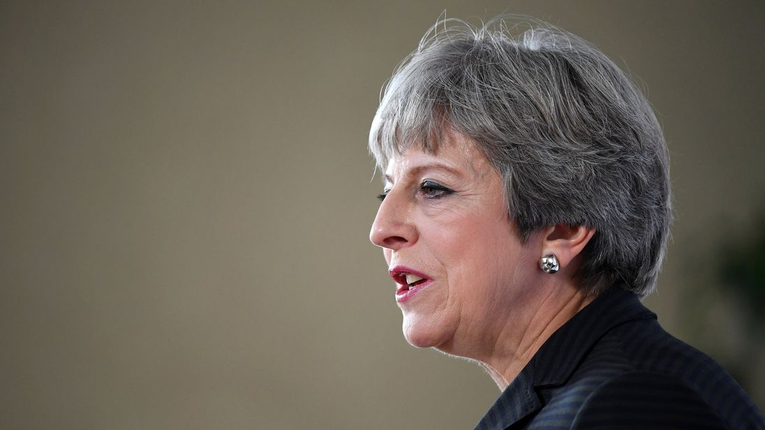 Theresa May gives a speech in Complesso Santa Maria Novella, Florence, Italy