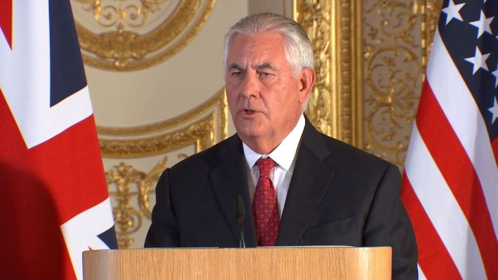 The U.S. Secretary of State Rex Tillerson at news conference in Lancaster House.