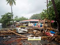Debris at a restaurant in Le Carbet, on the French Caribbean island of Martinique, after it was hit by Hurricane Maria