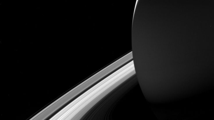 Saturn casts a shadow on its rings. Pic: NASA