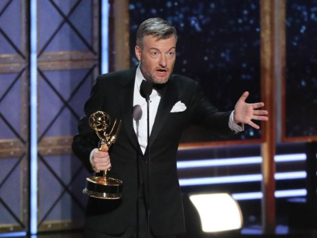 Charlie Brooker accepts the award for Outstanding Writing for a Limited Series or Movie for Black Mirror