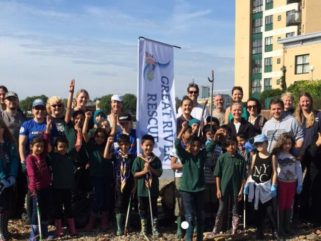 The group cleaned up beaches on the Isle of Dogs