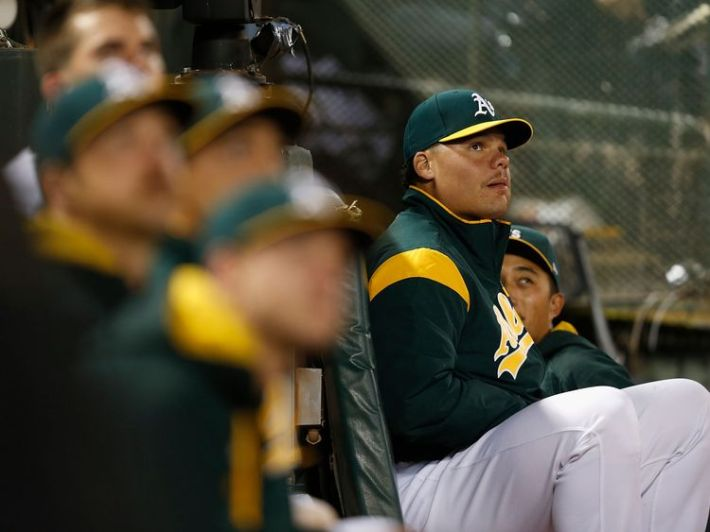 Bruce Maxwell, of the Oakland Athletics, knelt during the national anthem before playing the Texas Rangers