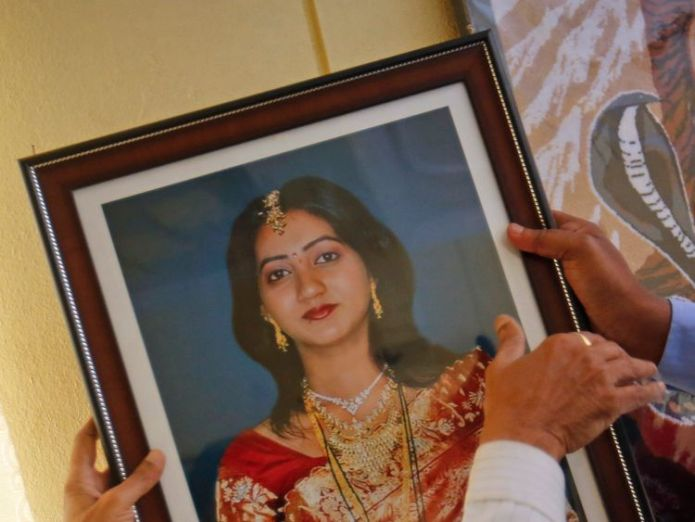 A portrait of Savita Halappanavar who died after allegedly being refused an abortion in Ireland Think of your own daughters say parents of Savita Halappanavar Think of your own daughters say parents of Savita Halappanavar skynews savita halappanavar 4111494