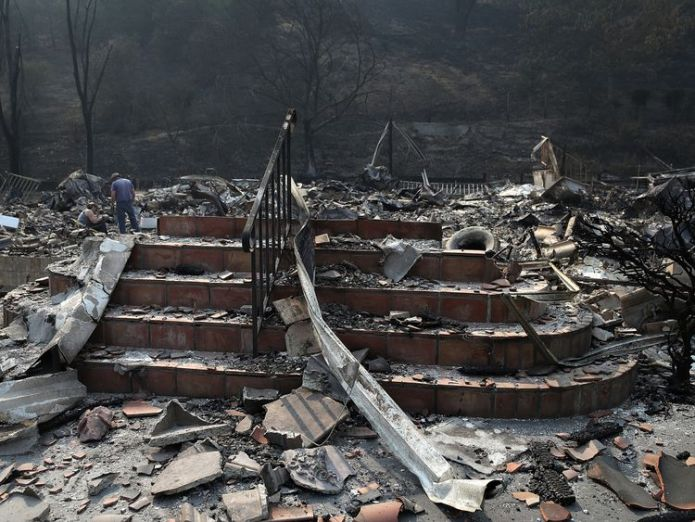 Stairs remain at a home that was destroyed by the Atlas Fire on October 13, 2017 in Napa, California Power lines caused California's devastating fires Power lines caused California's devastating fires skynews gettyimages 861033238 4128616