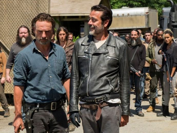 Andrew Lincoln as Rick Grimes, Jeffrey Morgan Dean as Negan ..- The Walking Dead _ Season 7, Episode 4 - Photo Credit: Gene Page / AMC