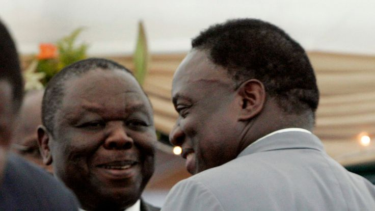 Mr Mnangagwa is said to have been crucial to engineering the appointment of Morgan Tsvangirai (left) in the 2008 government