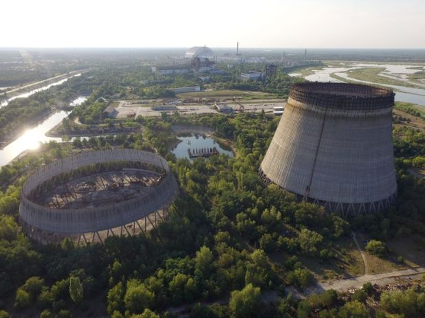 The abandoned, partially-completed cooling towers stand at the Chernobyl nuclear power plant