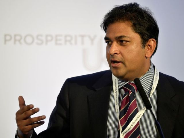 Chairman of the Legatum Institute's Special Trade Commission, Shanker Singham speaks during the Prosperity UK 2017 Conference in London, Britain, April 26, 2017. REUTERS/Hannah McKay