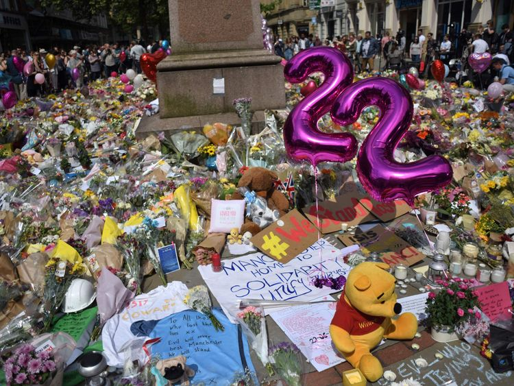 Tributes to the victims and injured of the Manchester Arena bombing in St Anns Square in Manchester