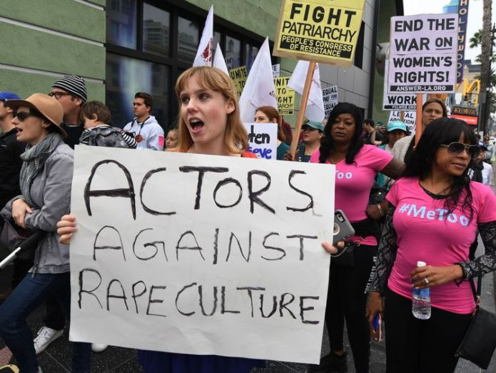 Victims of sexual harassment, sexual assault, sexual abuse and their supporters protest during a #MeToo march in Hollywood, California on November 12, 2017. Several hundred women gathered in front of the Dolby Theatre in Hollywood before marching to the CNN building to hold a rally. / AFP PHOTO / Mark RALSTON (Photo credit should read MARK RALSTON/AFP/Getty Images) The man who admits #IHave The man who admits #IHave skynews me too march hollywood 4154595