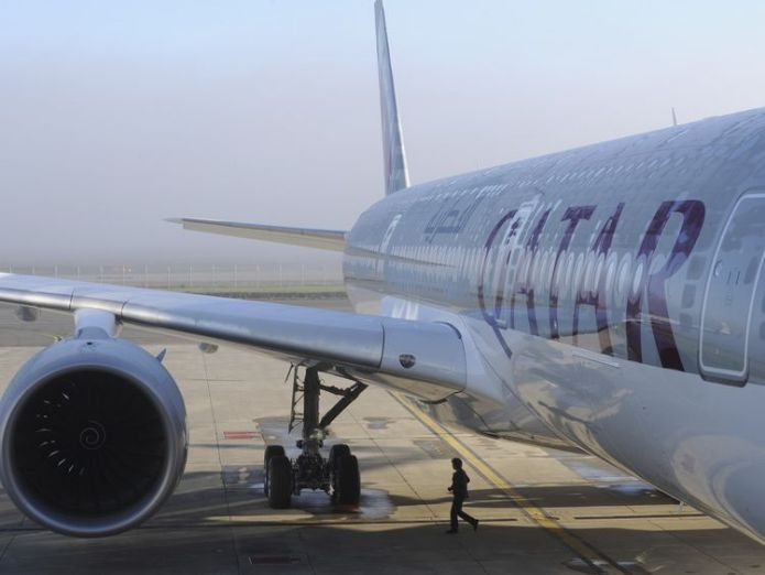 A Qatar Airways plane Qatar Airways boss sorry for 'joke' that a woman could not do his job Qatar Airways boss sorry for 'joke' that a woman could not do his job skynews qatar airways 4149343